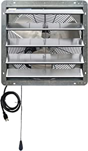 """Iliving 20"""" Wall Mounted Exhaust Thermostat Control-Automatic Shutter-Variable Speed Vent Fan for Home Attic, Shed, or Garage Ventilation, 3368 CFM, 5000 SQF Coverage Area, Silver"""