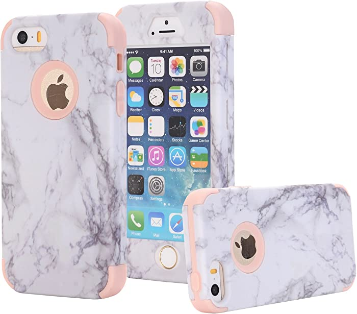 Ankoe iPhone 5S Case, iPhone 5 Case, iPhone SE Case, Marble Stone Pattern Shockproof Full Body Protective Cover Dual-Layer Slim Soft Flexible Silicone and Hard PC for Apple iPhone SE/5S/5 (Rose Gold)