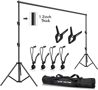 SLOW DOLPHIN 10 x 10Ft Photo Video Studio Heavy Duty Adjustable Muslin Backdrop Stand Background Support System Kit for Photography with Carrying Bag 8 Pcs Clip Clamps