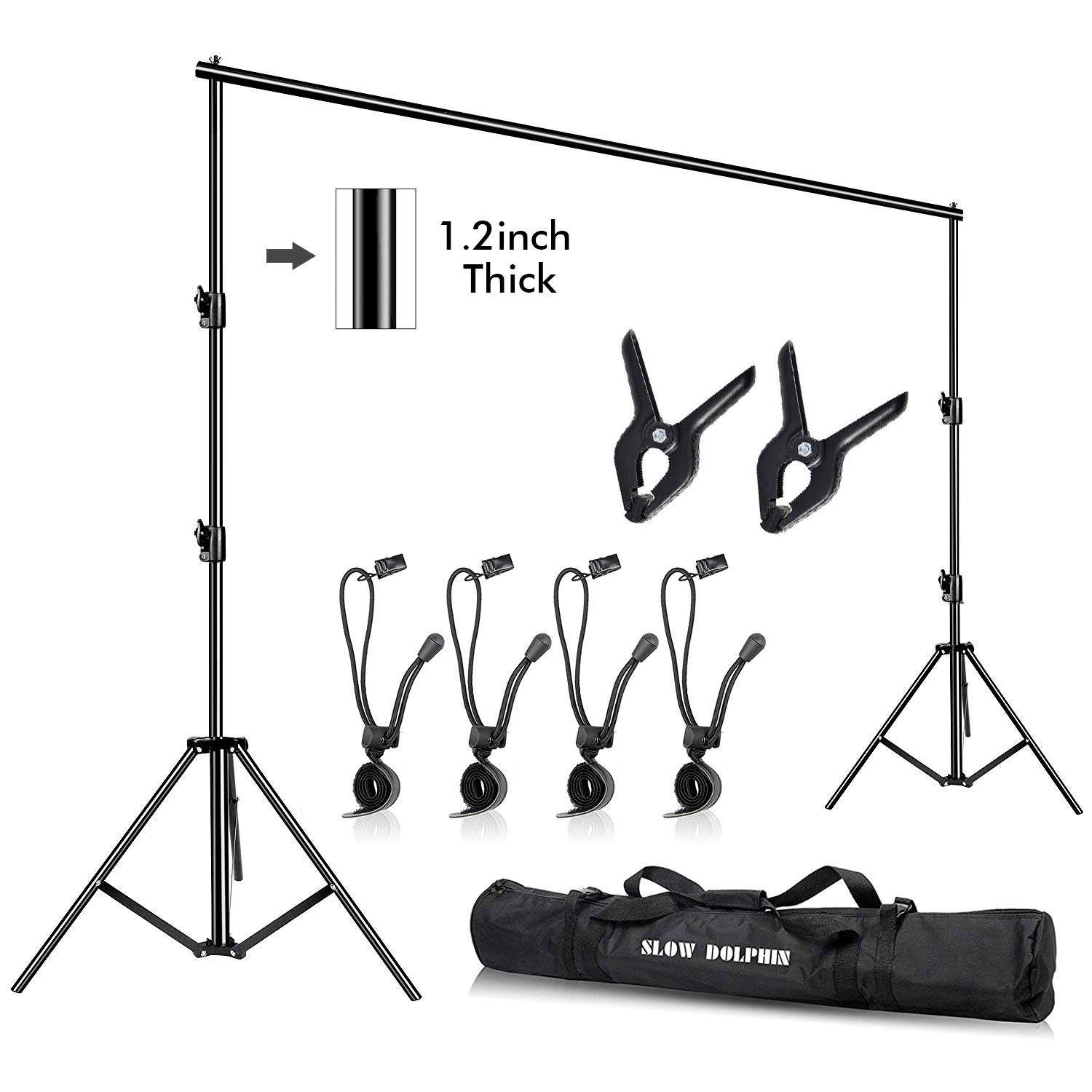 Slow Dolphin Photo Video Studio10ft (W) x 9.2ft (H) Heavy Duty Adjustable Photography Backdrop Stand BackgroundSupport System KitwithCarry Bag by SLOW DOLPHIN