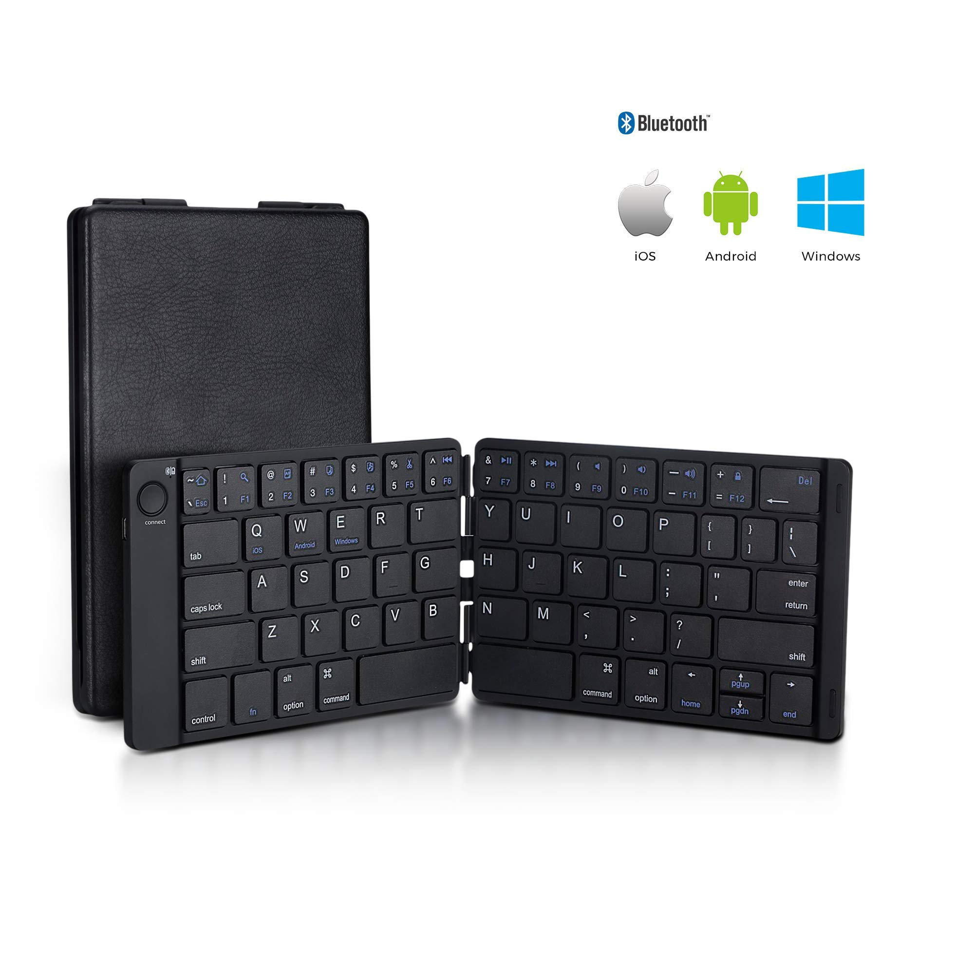 Foldable Bluetooth Keyboard Trendy Wag Portable Wireless Folding Rechargeable Pocket Size Full Size Ultra Slim for Windows Mac OS Android iOS PC iPad Samsung Tablet Smartphones