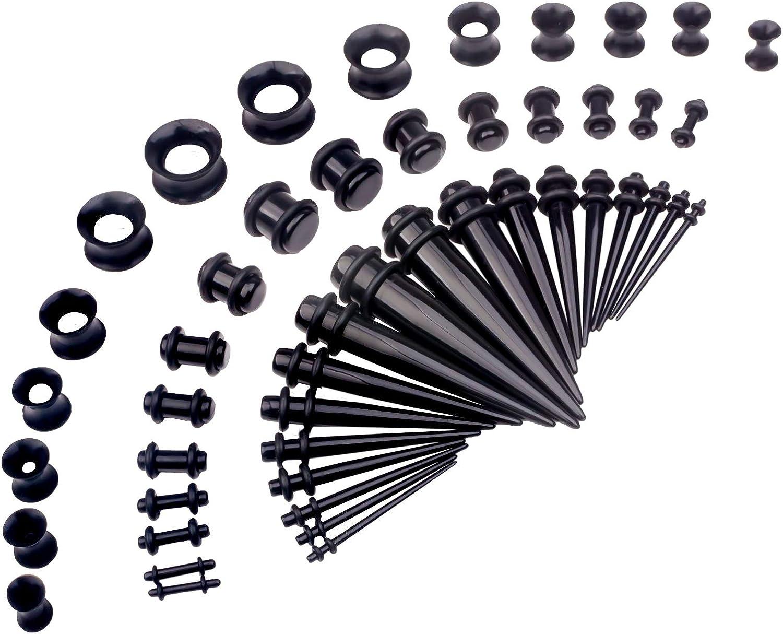 CABBE KALLO 50 pcs Ear Stretching Kits 14G-00G Plugs Tapers Acrylic Piercing Set Body Jewelry