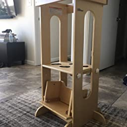 White and Natural Little Partners Explore n Store Learning Tower Kids Adjustable Height Kitchen Step Stool for Toddlers or Any Little Helper