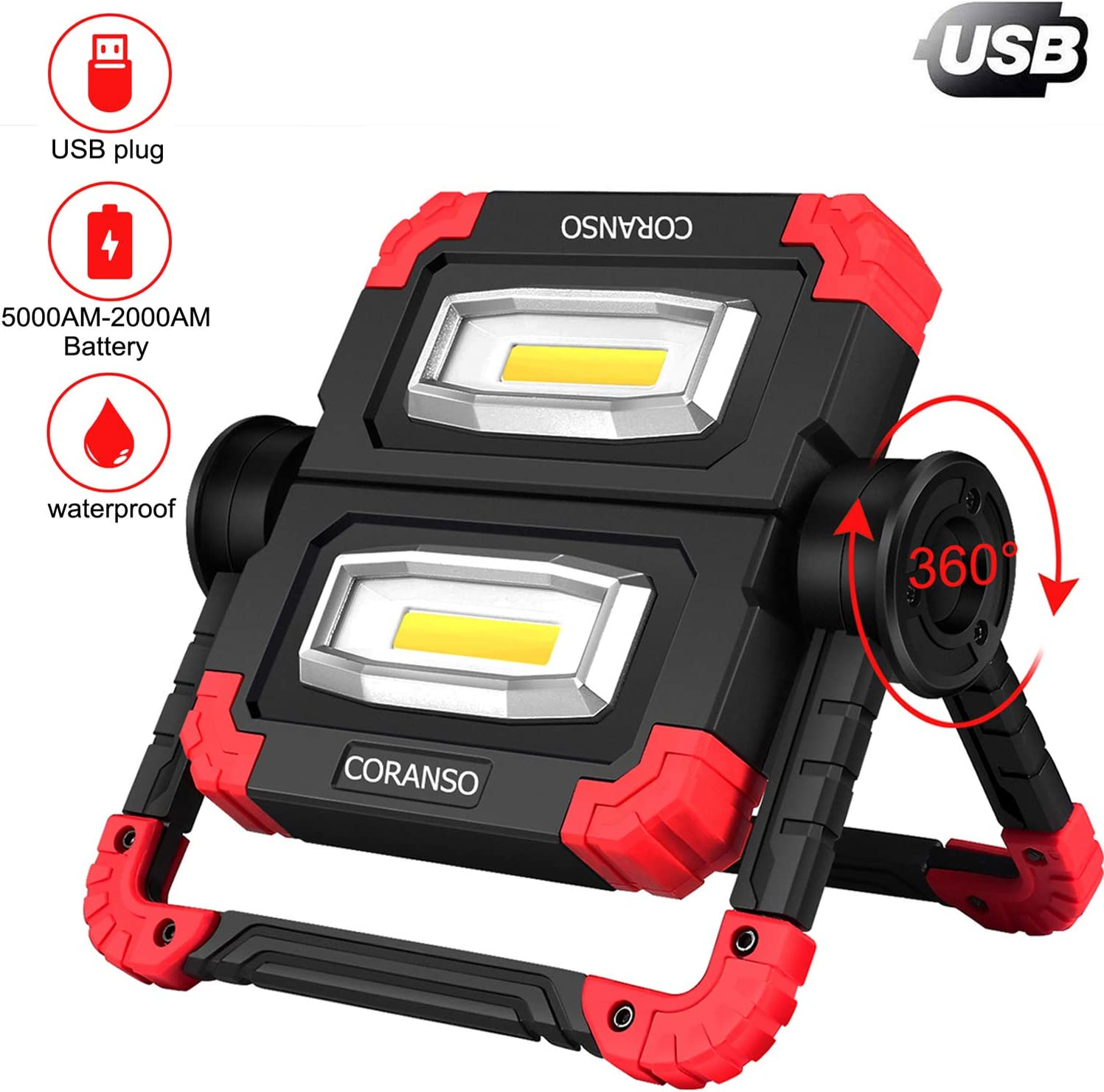 Portable LED Work Light,2 COB 2000LM USB Rechargeable Flood Lights Waterproof 360°Rotation Folding Stand Working Light for Car Repairing,Camping,Hiking Emergency,Backpacking,Fishing & Job Site Light