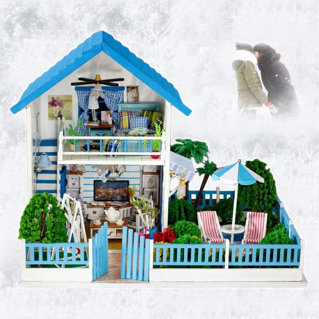 WWWSHM Holz-Miniatur-Dollhouse Model Kit mit LED und Möbel Handmade House Building Kit Weißnachtsgebäck gibt Adult und Teen (Romantische Hütte) Coule-Boutique