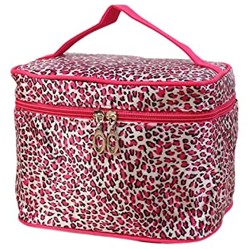 f5af22dbc9ff38 Amazon.com: OVERMAL Leopard Print Cosmetic Bags Women Travel Makeup Bag  Make Up Bags (Hot Pink): Beauty
