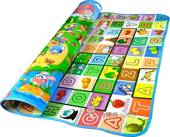 Egab Double Sided Water Proof Anti Skid Play and Crawling Mat for Babies (Multicolour and Design May Vary , 6 x 6.5 ft)