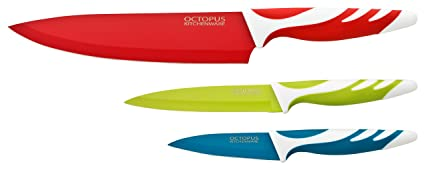 Juego de cuchillos de cocina – Set de 3 cuchillos de cocina de calidad - Cuchillo cocinero, Cuchillo multiuso y cuchillo pelador - recubrimiento ...