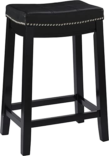 Linon Claridge Counter Stool, Black, 26 x 18 x 12.75