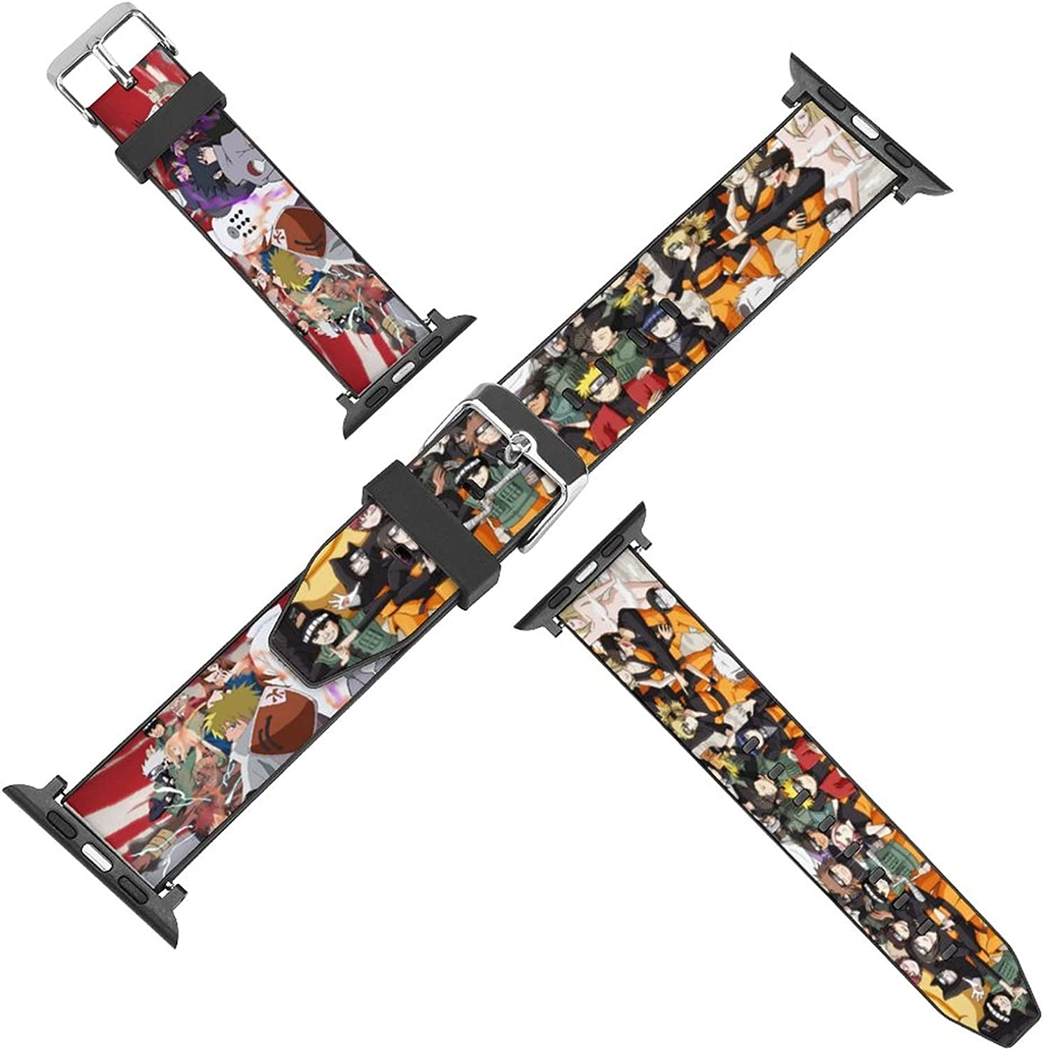 Eterfree anime N-aruto Compatible with Apple Watch Bands 38mm/40mm,42mm/44mm PU Sport Band for Women Men,Strap Compatible with iWatch series 5 4 3 2 1