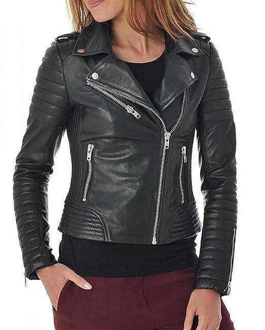Amazon.com: Chaqueta de piel de cordero suave para mujer ...