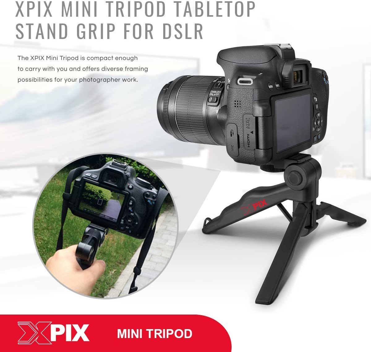 Xpix 2-in-1 Tripod Lens Pouch Canon EF-S 24mm f//2.8 STM Lens and Xpix Exclusive Bundle w//Remote Filters Xpix Cleaning Kit