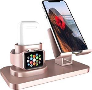 Fingic 3 in 1 Charging Stand for iWatch Series 5/4/3/2/1, Universal Desktop Stand Holder Station for Airpods 2/1,Apple Watch,iPhone 11 Xs Max XR X 8 7 Plus 6s Android Smartphone iPad Tablet, Rose Gold