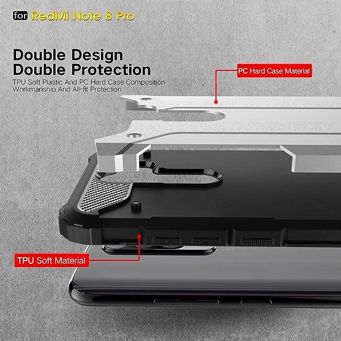 -Blanco CRABOT Compatible con Xiaomi Redmi Note 8 Pro Simulaci/ón Diamante Carcasa de telefono Funda Golpes Soporte Giratorio Anti-ca/ída Caso 1 * Protector de Pantalla Gratuito+ Acollador