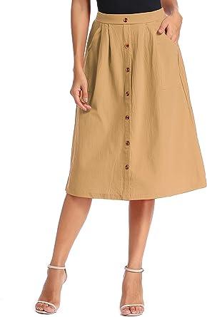 kefirlily Mujer Falda A-Line Botón de Cintura Elástica Delantera Knie ...