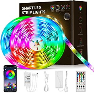 50Ft LED Strip Lights, Led Lights Strip Smart Music Sync RGB Color Changing App Controlled and Remote Led Strip Lights, Led Lights Used for Christmas Party and Home Decoration
