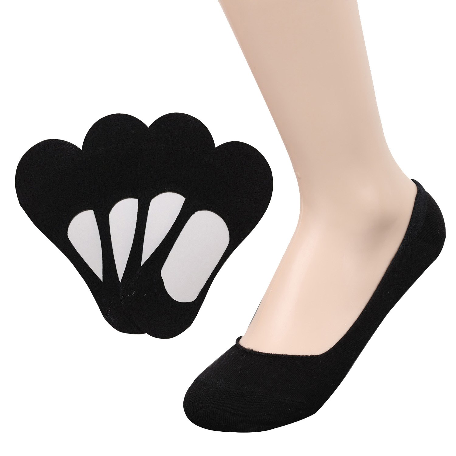 TETIBA Women's Premium Cotton No Show Liner Socks with Double Elastic band & Non slip Silicone Patch Pack of 4 Pairs (shoe 5-8, 4 Pack_black)