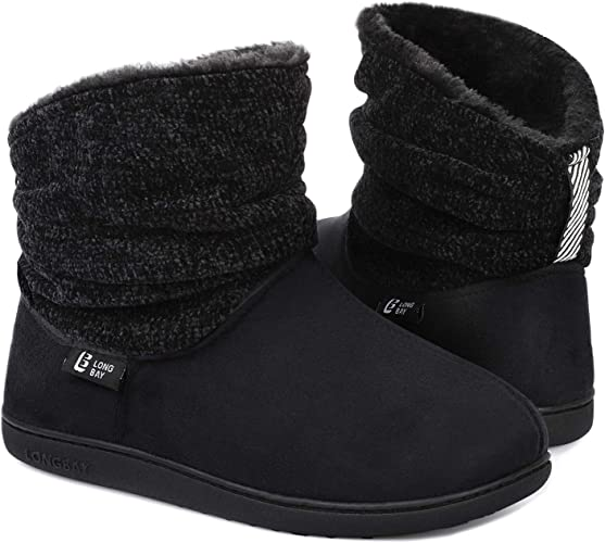Chenille Knit Bootie Slippers Comfy