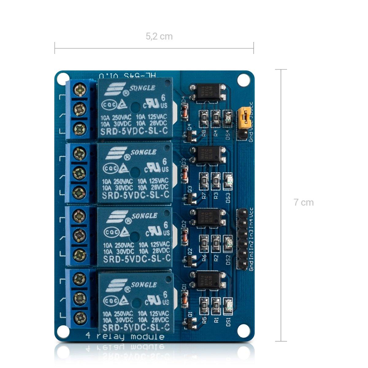 amazon 3x kwmobile 4チャネル 5v リレーモジュール arduino 用 4