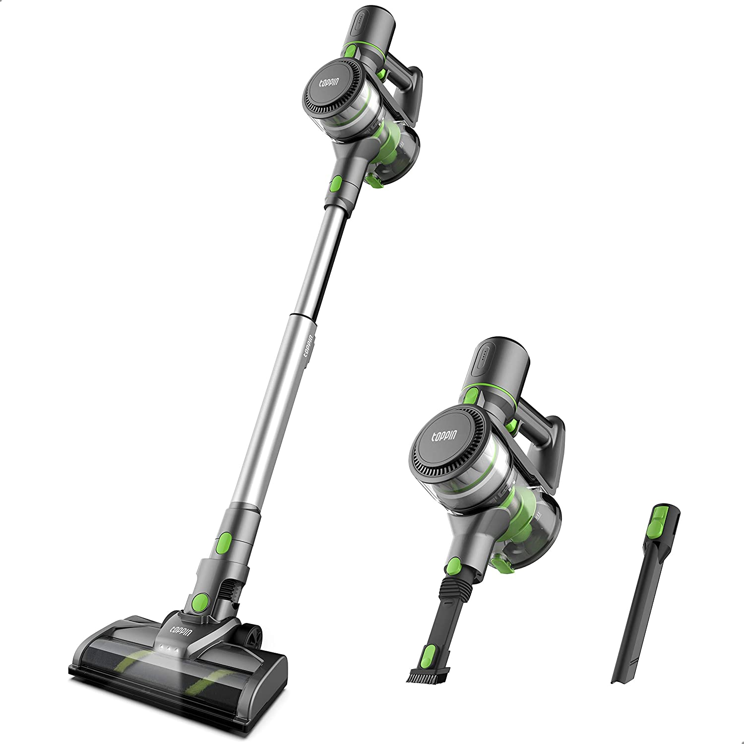 TOPPIN Stick Vacuum Cleaner Cordless - Tangle-Free 6 in 1 Powerful 12Kpa Suction Stick Vacuum, Lightweight and Big Capacity, Up to 35min Runtime, Ideal for Home Hard Floor Carpet Car Pet