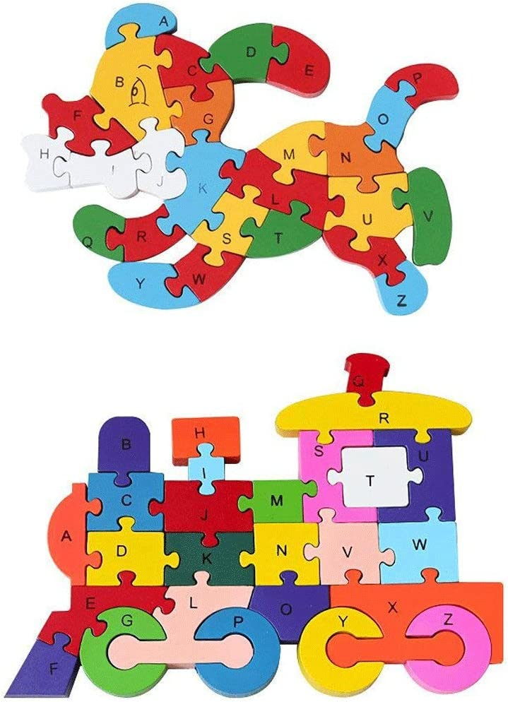 Wood Alphabet Number Jigsaw Giraffe Puzzle Colorful Block Educational Toy