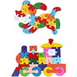 3 otters Wooden Alphabet Puzzle, 2PCS Alphabet Jigsaw Puzzle Learning Letters Blocks Letters Toys Animal Wooden Puzzle for Ki