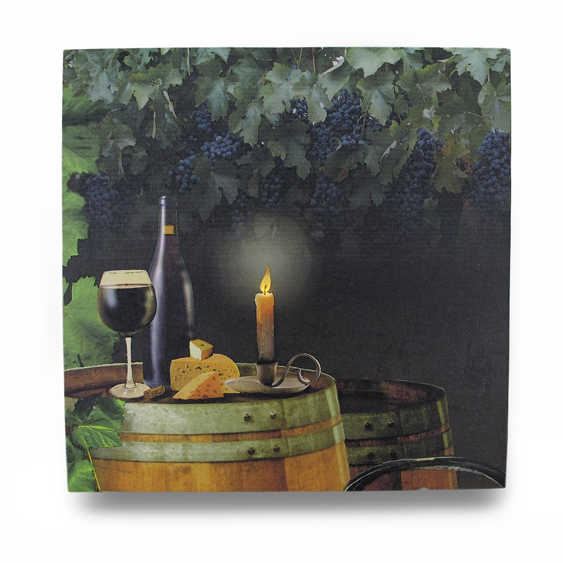 Zeckos Canvas Prints Wine By Candle Light Lighted Led Canvas Wall Hanging 16 X 16 X 1 Inches Black