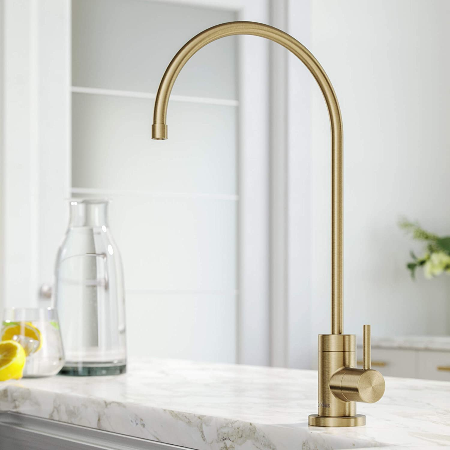 Kraus FF-100SFACB Purita 100% Lead Kitchen Water Filter Faucet, Spot Free Antique Champagne Bronze