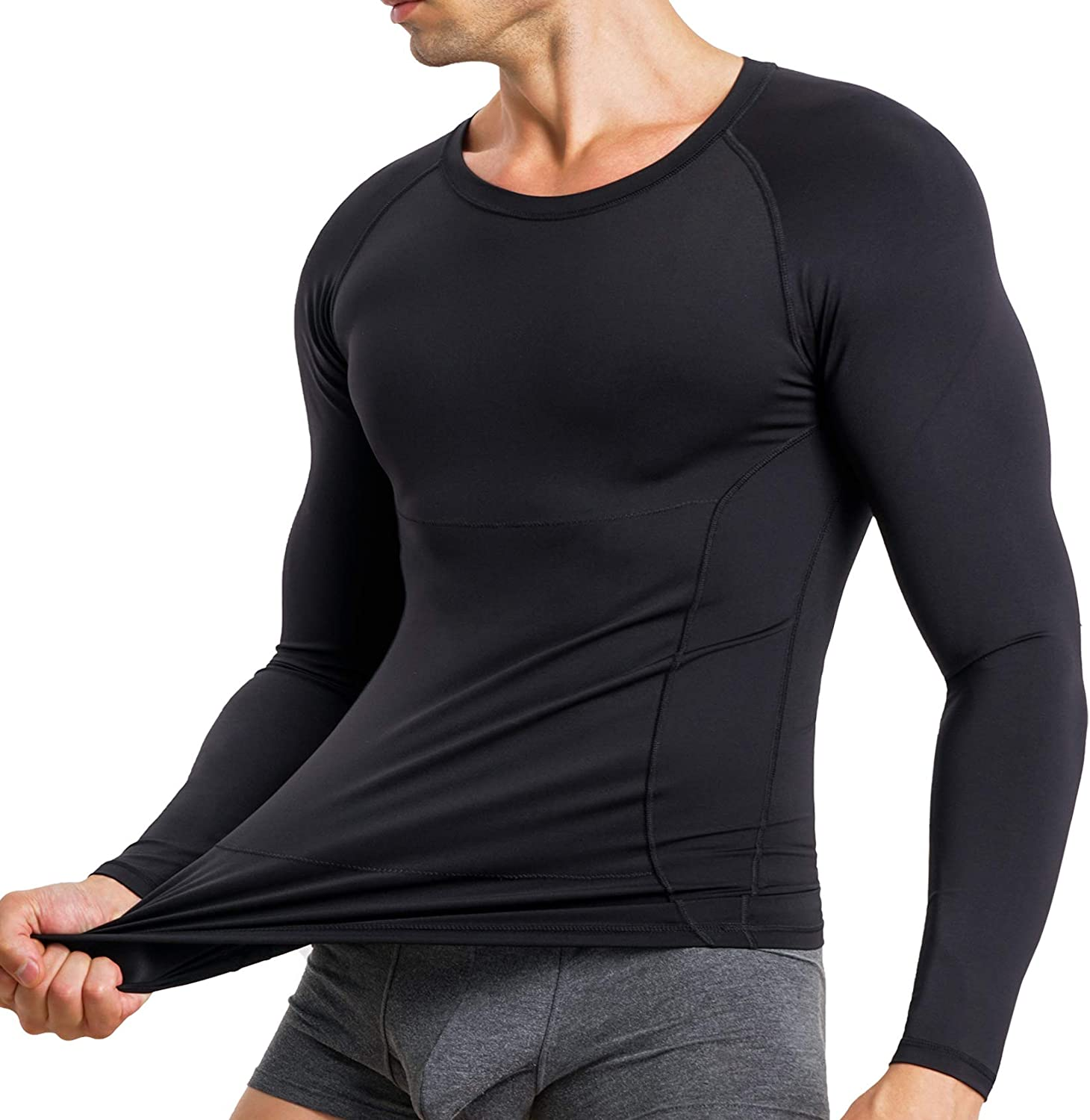 MOLUTAN Mens Compression Shirts Long Sleeves Baselayer Top Body Slimming Shaper Undershirt Shapewear for Arms and Chest
