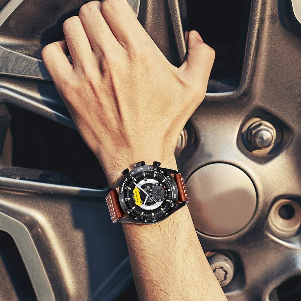 Gskj kvartsklocka för män, vattentätt mode läderrem datum fritid rörelse business kronograf svart/brun D