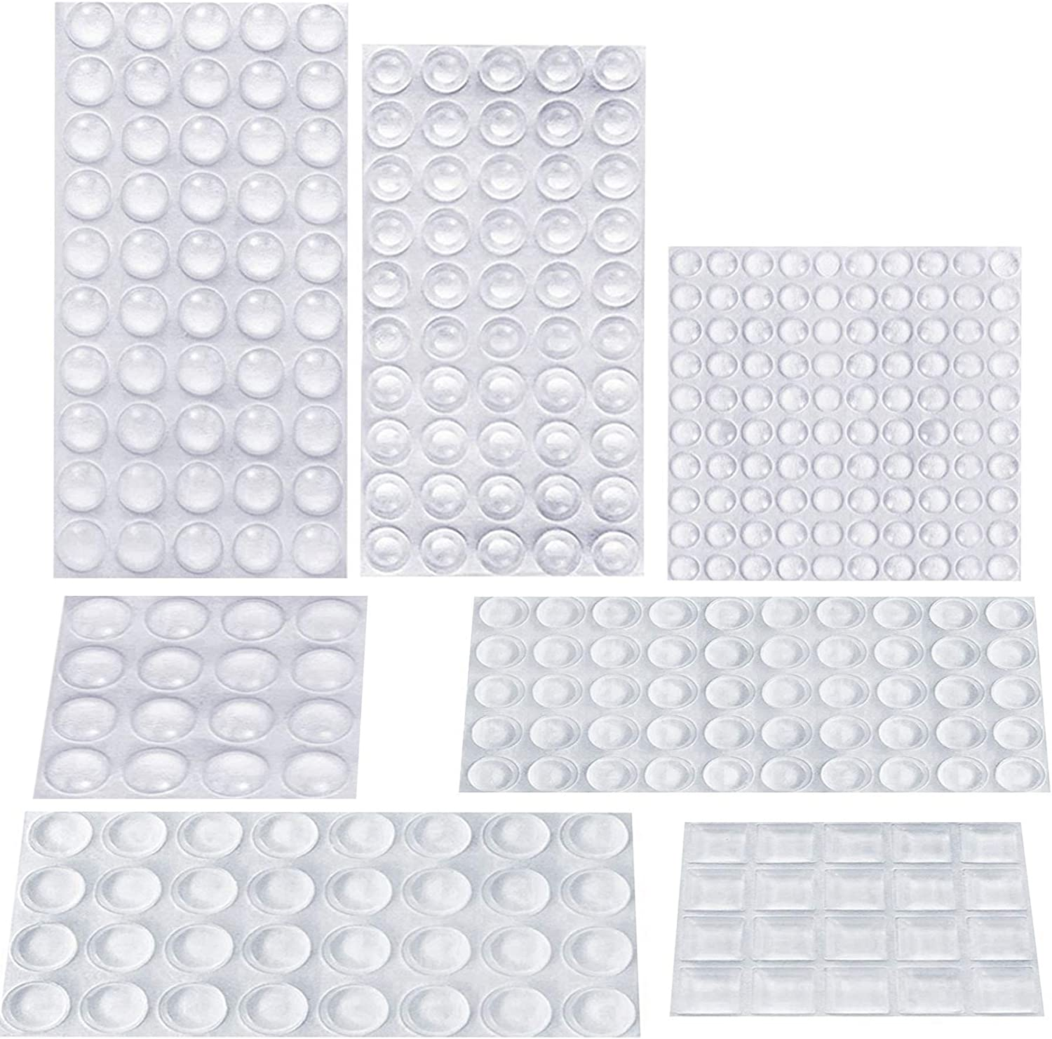 AUSTOR 318 Pieces Rubber Feet, Noise Dampening Buffer Pads Clear Rubber Pads Self Stick Bumper Pads for Doors, Cabinets, Drawers, Glass, Electrical Appliances