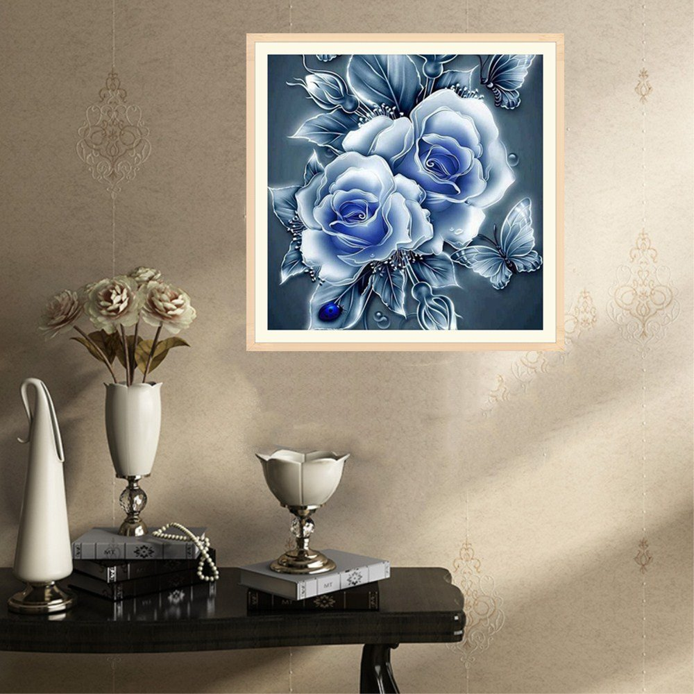 Eduavar DIY 5D Diamond Painting by Number Kits Partially Drilled Crystal Rhinestone Embroidery Pictures Arts Craft for Home Wall Decor Gift for Home Decor