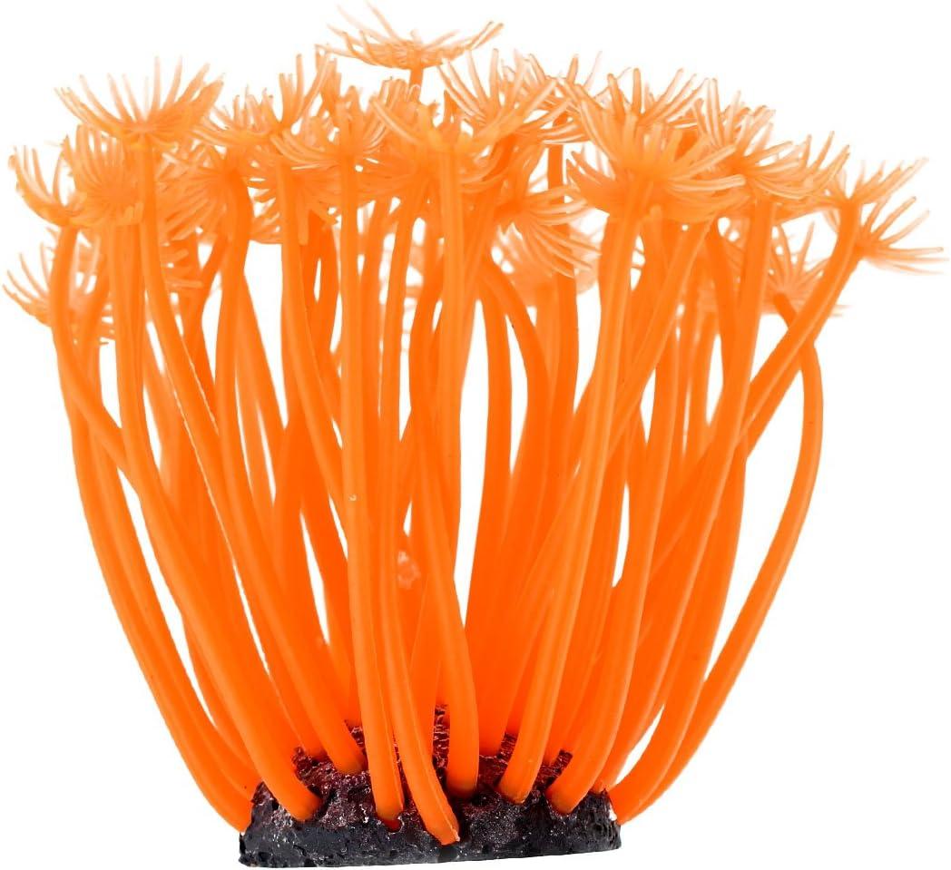 17cm Dia Orange Silicone Coral Decoration for Fish Tank
