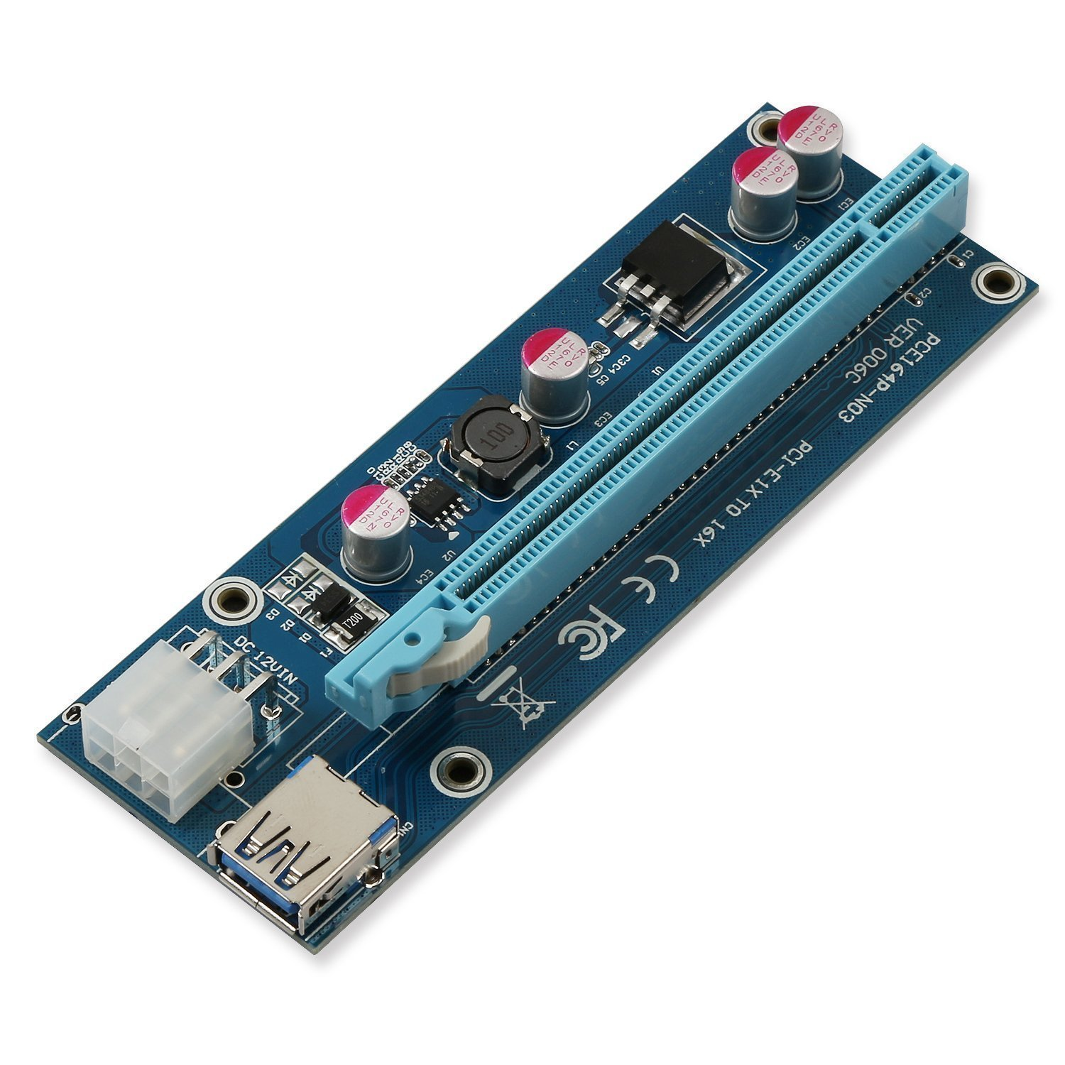 6 Pack GPU Graphic Card Crypto Currency Mining 6-Pin Powered PCI-E PCI Express Riser 1X to 16X PCIE USB 3.0 Adapter Card VER 006C with USB Extension Cable LONGXI