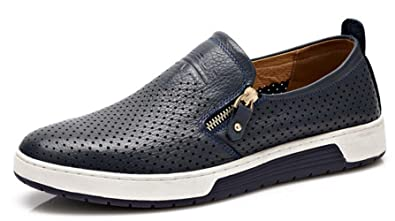 da348591dca Homme Chaussure Mocassins Cuir Souple Pied Large Fermeture Eclair Slip-on  Confortable Respirant Soulier Loafers