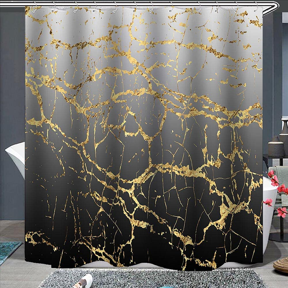 Black Ombre Gradient Fabric Shower Curtain Abstract Glitter Marble Greyish White to Gray Balck Cracked Line Water Soap Resistant Machine Washable Bathroom Decor Set with Hook Bath Curtain 72 x 72 Inch
