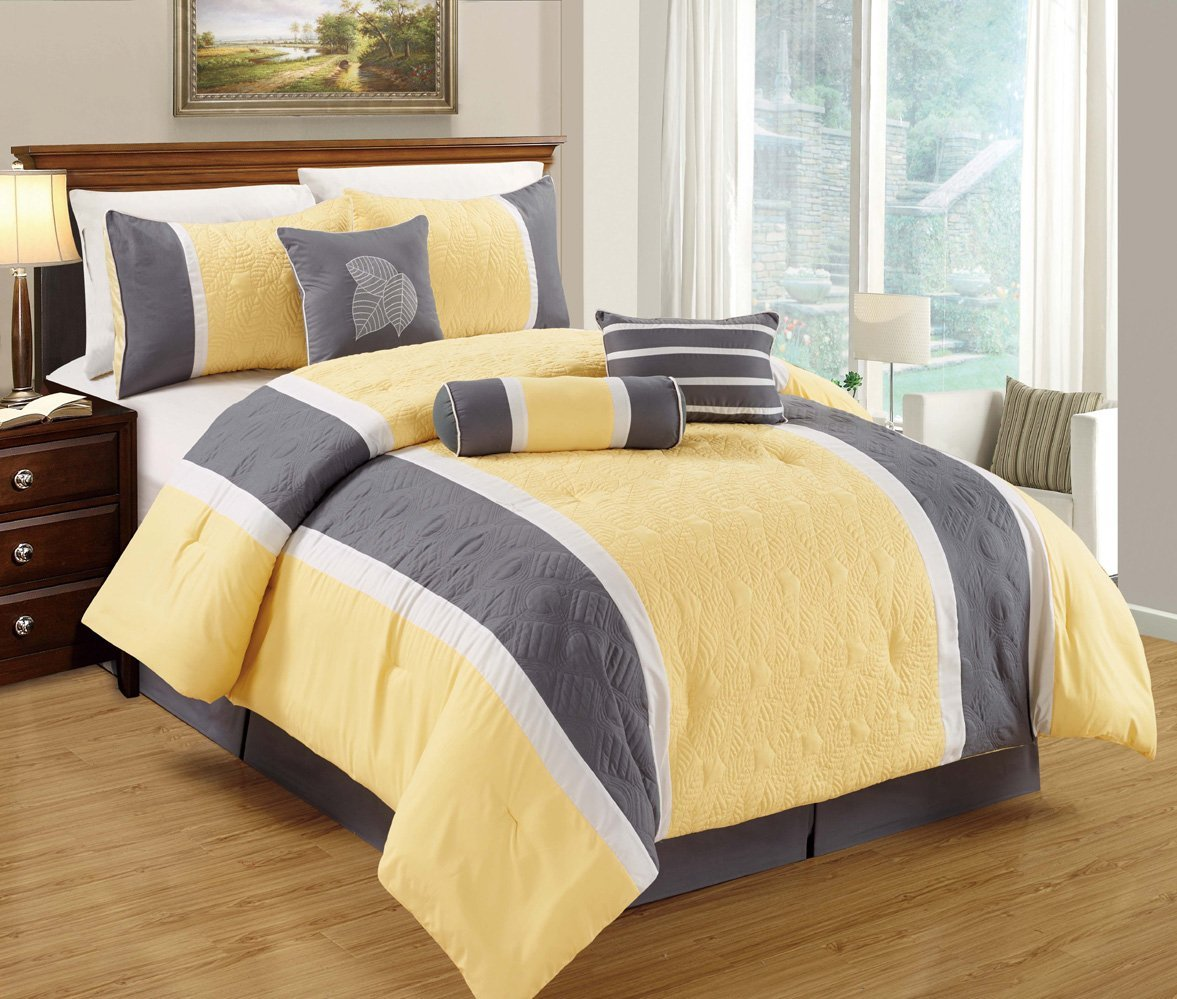 Leaf Applique Quilted Comforter Set Stripe Bed In A Bag Yellow, Grey and White Queen Size Bedding