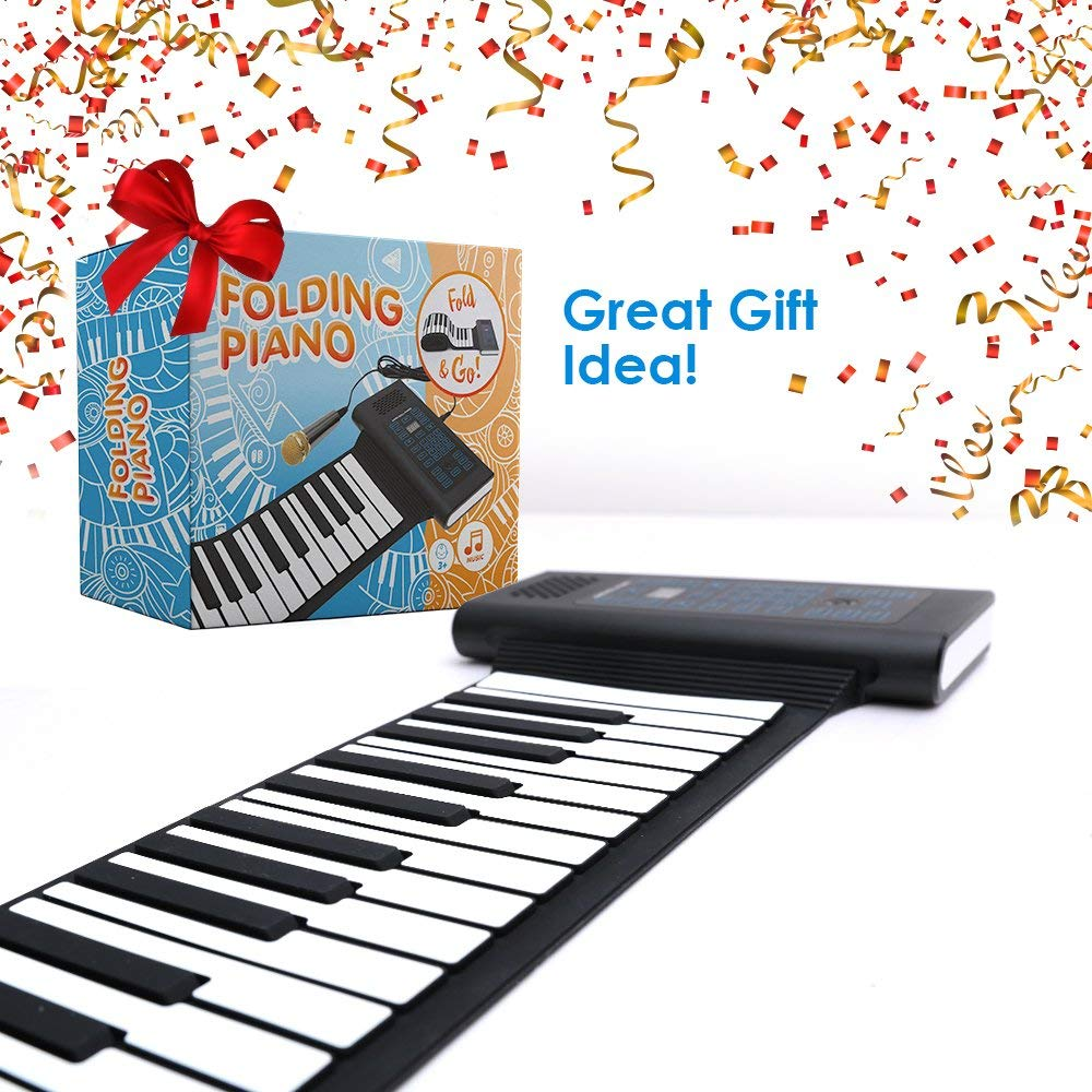 Roll Up Piano Folding Portable Keyboard   61Keys   Music Gifts for Women Men Girl Boys Kids   Educational Toys Gift Set   Digital Beginner Piano by Igloo Essentials (Image #5)