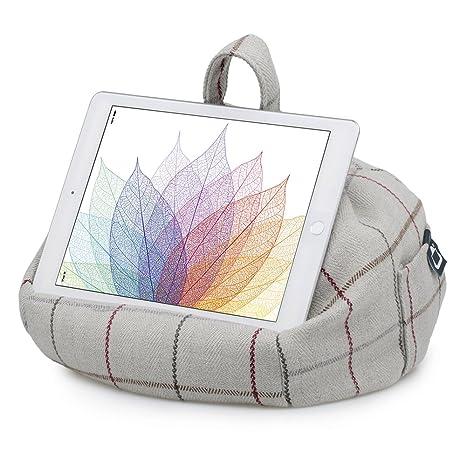 iBeani iPad Tablet y Libro electrónico de Almohada con función de Atril con cojín - Gris a Cuadros