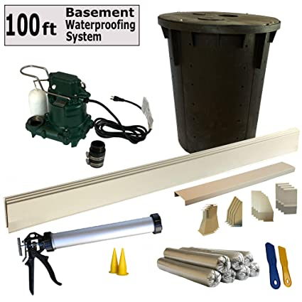 100 Ft - Complete Basement Waterproofing System  Includes