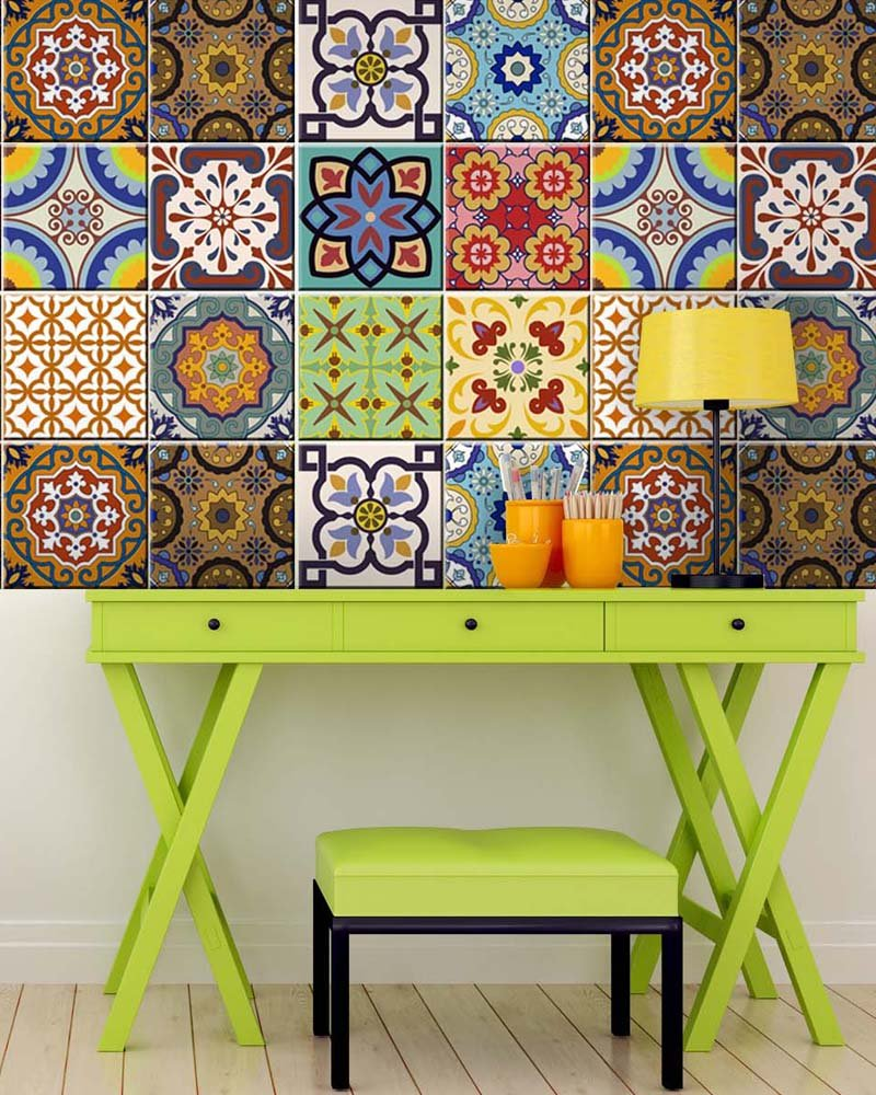 Tile Stickers 24 PC Set Traditional Talavera Tiles Stickers Bathroom & Kitchen Tile Decals Easy to Apply Just Peel & Stick Home Decor 6x6 Inch (Kitchen Tiles Stickers C1) by Alma-Art (Image #2)