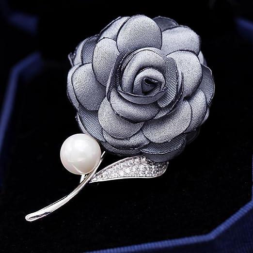 Daeou Broches y alfileres para Mujer Broche Tela Flor Perla Pin ...