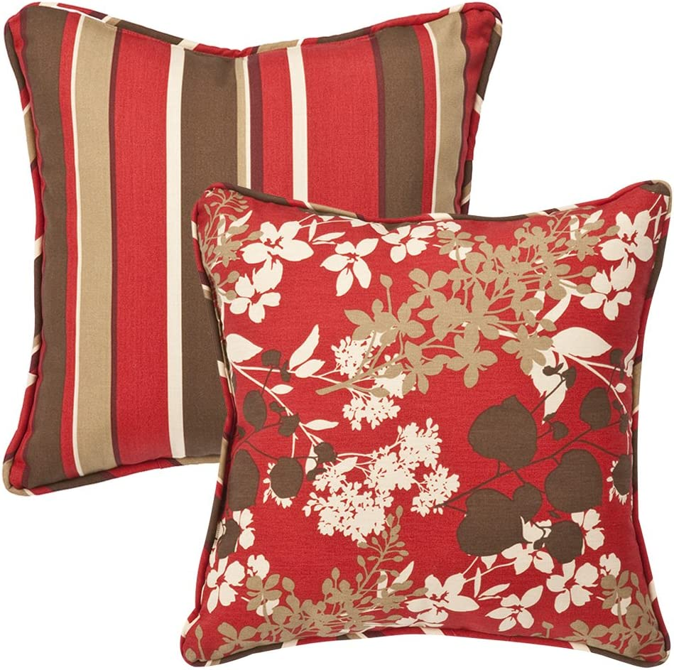 Pillow Perfect Outdoor Indoor Monserrat Montifleuri Sangria Throw Pillows 18 5 X 18 5 Red 2 Pack Home Kitchen Amazon Com