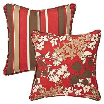 Amazon.com: Almohada perfecto decorativas Rojo/Marrón de ...