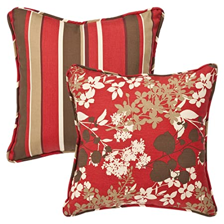 Pillow Perfect Decorative Red Brown Floral Striped Toss Pillows, Square Reversible, 18-1 2 Length, 2-Pack