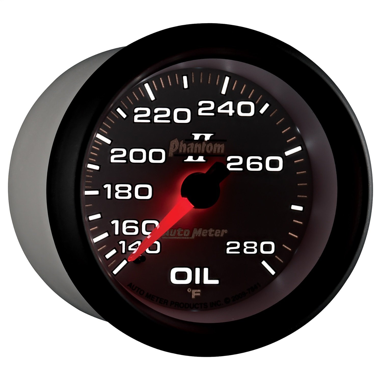 Auto Meter 7841 Phantom II 2-5/8'' 140-280 F Mechanical Oil Temperature Gauge