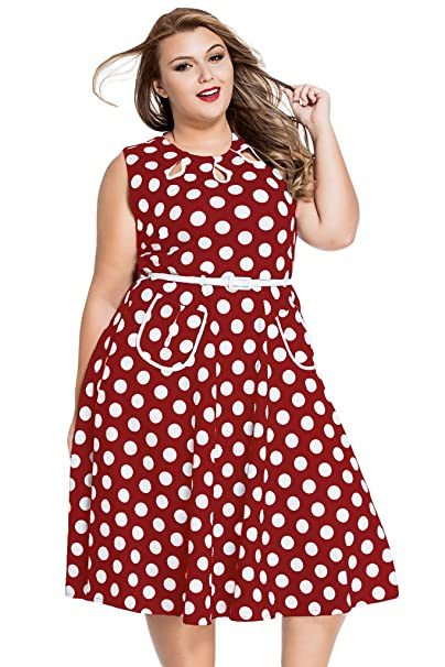 Chase Secret – Vintage 1950 s Lunares Casual Fiesta Swing Vestido Plus Size - -