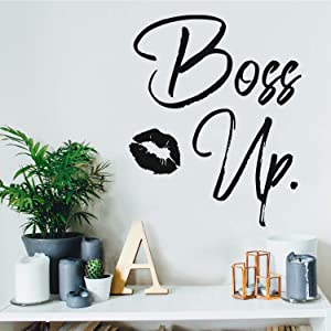 "Vinyl Wall Art Decal - Boss Up - 21"" x 17"" - Trendy Motivational Women Quote Kiss Shape Sticker for Home Bedroom Closet Girls Room Apartment Work Office Decoration (Black)"