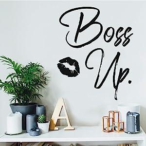 "Vinyl Wall Art Decal - Boss Up - 21"" x 17"" - Trendy Motivational Women Quote Kiss Shape Sticker for Home Bedroom Closet Girls Room Apartment Work Office Decoration (Black)"