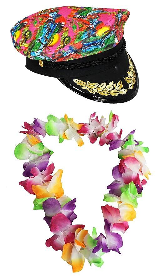 Cappello da marinaio hawaiano look + multicolore fiore lei Garland Fancy  Dress hula set Captain Boat 222c8f8ac265